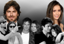 'The Vampire Diaries' actors Ian Somerhalder and Nina Dobrev in the background in full color, behind multiple images of the couple together in black and white